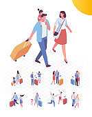 Isometric people in airport vector set. Family trip and vacation. Parents with kid and laggage ready for travel.