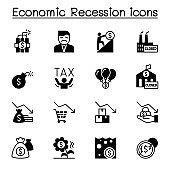 Economic recession, business crisis icons set vector illustration graphic design