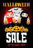 Halloween Sale poster with funny scary pumpkins. Funny kids in Halloween costumes devil and grim Reaper. Halloween sale banner design with 50 Discount