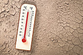 Thermometer on Dry soil ground cracks background show higher Weather