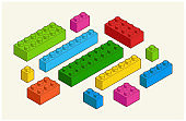 Set of different colorful toy building bricks in isometric view vector stock illustration.