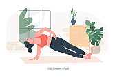 Side Forearm Plank Yoga pose. Young woman practicing yoga  exercise.