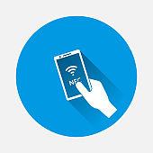 Vector icon hand holds a telephone icon on blue background. Flat image with long shadow.