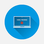 Vector distance learning icon. Icon of laptop and education symbol icon on blue background. Flat image with long shadow.