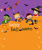 Halloween party invitation template card with kids in Halloween costumes in paper cut style.