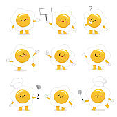Set of cute fried egg cartoon characters with various activities.