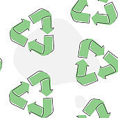 Recycle set sign isolated. Flat icon. Vector illustration. Vector recycle cartoon style on  seamless pattern on a white background.