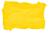 Torn piece of yellow paper on a white background. File contains clipping path. Space for text.