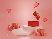 3d render podium product background for valentine.