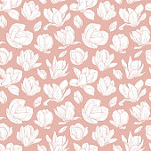Seamless pattern with blooming magnolia flowers in sketch style.