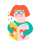 Girl Reading Book Flat Shapes Icon Design