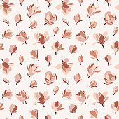Floral seamless pattern with magnolia flowers, vector.