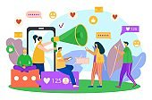 Smartphone addiction in social media, vector illustration. Man woman people character use mobile network at flat phone, get likes online.