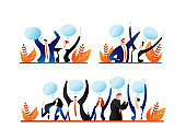 People communication, person group with speech bubble vector illustration. Man woman character talk, cartoon conversation set.