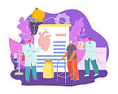 Health treatment, doctor care about patient heart attack with medicine concept vector illustration. Cardiology clinic research cardiovascular disease.