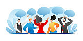 People person with different opinion, communication by speech bubble, vector illustration. Business man woman discussion, cartoon group dialog.