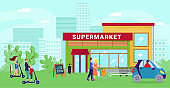 Supermarket at cartoon street, flat city shop vector illustration. Urban market background, people go shopping to store concept.