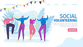 Social volunteering, happy volunteer team vector illustration. Charity donation for care assistance and support, landing banner.