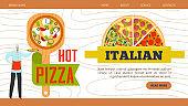 Pizza web banner, restaurant website vector illustration. Italian pizzeria food design, tasty cafe menu background template page. Fast food