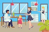 Doctor examines girl kid with mother woman character at hospital, pediatrician visit vector illustration. Medicine health care for child patient