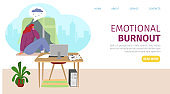 Emotional burnout at remote work, tired woman problem, landing banner vector illustration. Business worker character at cartoon home office.