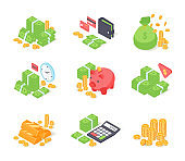 Money finance, isolated on white vector illustration. Bank cash stack set, dollar investment near piggy bank concept, business currency.