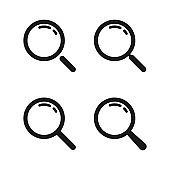 Loupe. Magnifying glass vector icons. Search icon. Search symbols. Magnifying glass loupe icons. Vector illustration