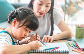Mother Teacher is teaching her daughter doing homework in the coloring book on Sofa table in Living room at home. for family togetherness concept.