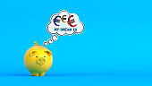 Yellow-colored piggy bank and cloud-shaped speech bubble with euro symbol text.