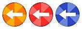Back arrow icon burst light round button set illustration
