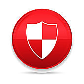 Shield icon shiny luxury design red button vector