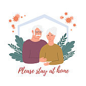 Stay home concept. Old man and old woman are at home