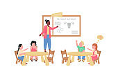 Teacher and children during preschool biology class flat color vector faceless characters