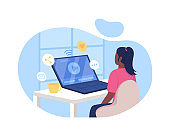 Watching video online 2D vector web banner, poster
