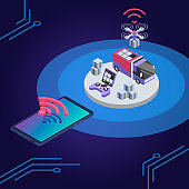 Delivery drone remote control isometric color vector illustration. UAV delivering parcel. Courier service smart technologies. Shipment monitoring smartphone app 3d concept isolated on blue background