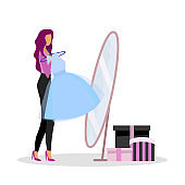 Trying on new dress at shop flat color vector faceless character