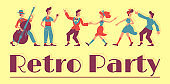 50s retro show banner flat vector template. Vintage party horizontal poster word concepts. Rockabilly style cartoon illustrations with typography. Jive and rock n roll dancers on yellow background