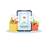 Greengrocery online ordering flat concept vector illustration. Vegetables and fruits store, fresh organic produce delivery service. Internet grocery mobile application creative idea