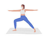 Girl participating in yoga session semi flat color vector character