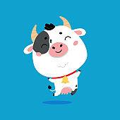 Cute farm milk cow on blue background