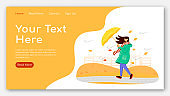 Woman in raincoat landing page flat color vector template. Female with umbrella homepage layout. Autumn nature one page website interface with cartoon character. Windy weather web banner, webpage