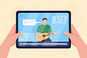 Hands hold tablet with video on guitar tutorial flat color vector illustration