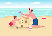 Beach family activity flat color vector illustration. Parent and kid summer entertainment. Father and son building sandcastle 2D cartoon characters with sand beach and sea on background