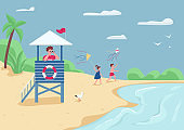 Beach safety and active leisure flat color vector illustration. Lifeguard in tower watching in binoculars. Kids flying kite 2D cartoon characters with tropical sand beach and sea on background