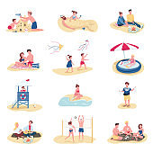 Beach activities flat color vector faceless characters set. Summer recreation. People building sandcastle, kids swimming in inflatable pool isolated cartoon illustrations on white background