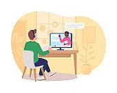 Distance language course 2D vector web banner, poster