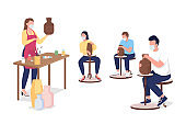 Pottery master class flat color vector faceless characters