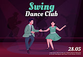 Swing dance club banner flat vector template. Brochure, poster concept design with cartoon characters. Retro revival party, twist competition horizontal flyer, leaflet with place for text