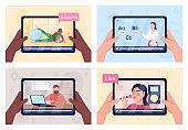 Online tutorials on tablet screen flat color vector illustration set