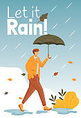 Let it rain poster flat color vector template. Male with umbrella. Brochure, cover, booklet one page concept design, cartoon characters. Autumn wet day. Advertising flyer, leaflet, banner, newsletter